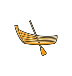 A boat with a paddle icon flat style vector image