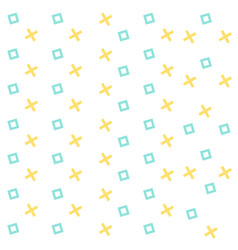 abstract blue square yellow cross pattern design v vector image