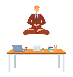 adult man doing yoga in lotus posture vector image