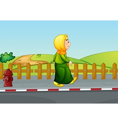 An old lady walking along the road vector image