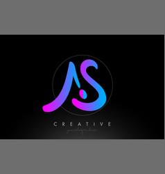 as artistic brush letter logo handwritten vector image