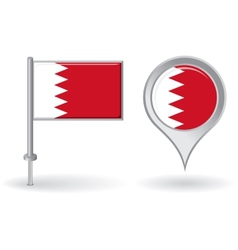 Bahrain pin icon and map pointer flag vector