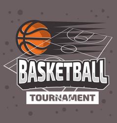basketball themed design with basketball court an vector image