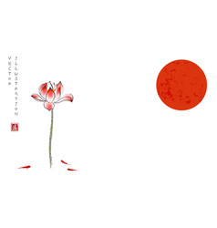 big red sun lotus flower gingko leaf and three vector image