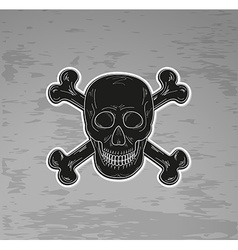 Black skull and bones vector