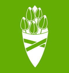 bouquet of tulip flowers icon green vector image
