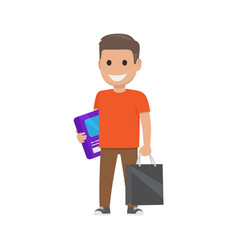 boy with box and bag shopping time vector image
