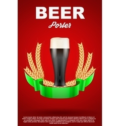 Brewery Label with dark beer glass and malt vector image