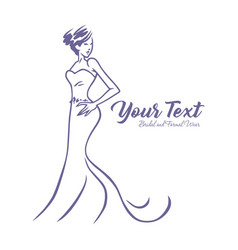 Bridal logo wedding gown dress boutique design vector
