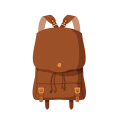 brown backpack front view schoolbag or camping vector image