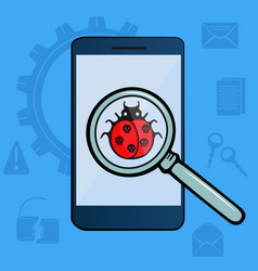 Bug with skulls under a magnifier on a smartphone vector