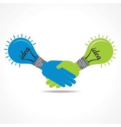 Businessman handshake background with bulb vector