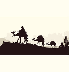 Caravan of camels silhouettes style on bright vector