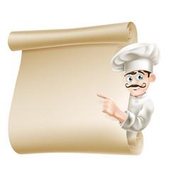 Chef pointing at menu vector