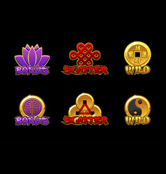 Chinese slots icons wild bonus and scatter vector