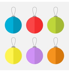 Christmas ball set White background Isolated Flat vector image