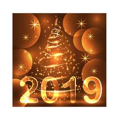 christmas tree neon lights swirl decoration vector image
