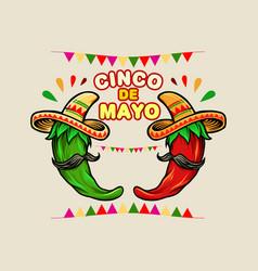 cinco de mayo cartoon mexican green red hot chili vector image