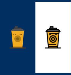 Coffee mug starbucks black coffee icons flat and vector