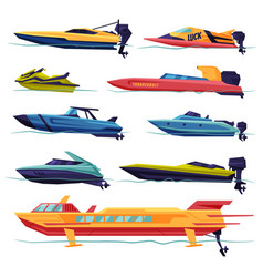 Collection speedboat sailboat power boat vector