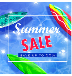 Colorful summer surfing design vector