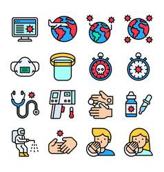 coronavirus disease 2019 related icon set 3 vector image