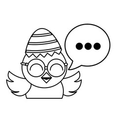 cute little chick with sheel egg broken and speech vector image