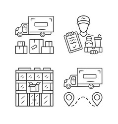 delivery linear icons set heavy goods shipping vector image