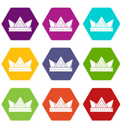 diamond crown icons set 9 vector image