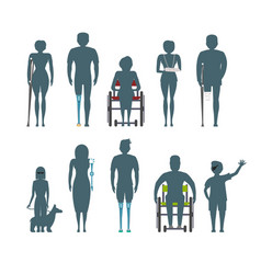 Disabled people silhouette isolated set vector
