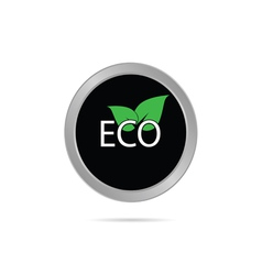 eco button with leaf color vector image