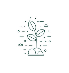 eco plant growing icon in line art vector image
