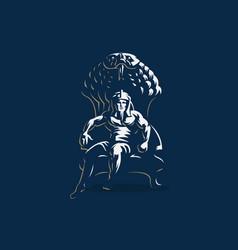 egyptian king man pharaoh ankh vector image
