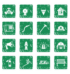 Fireman tools icons set grunge vector