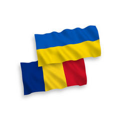 Flags romania and ukraine on a white background vector