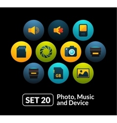 Flat icons set 20 - audio and photo collection vector