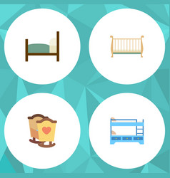 flat mattress set of crib bunk bed bed and other vector image