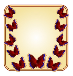 Frame with butterflies Nymphalis antiopa vector