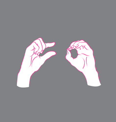 gesture a little bit sign two female hands vector image