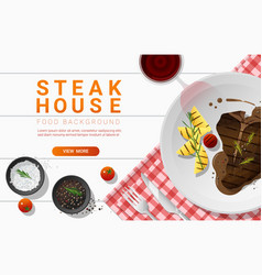 grilled beef t-bone steak on table background vector image
