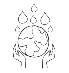 Hand draw save world doodles vector