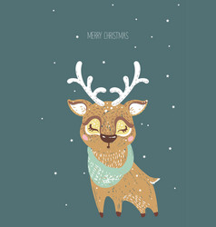 hand drawn deer for merry c vector image