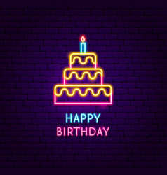 happy birthday neon label vector image