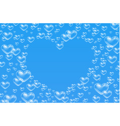 Heart shaped bubbles frame with empty space text vector