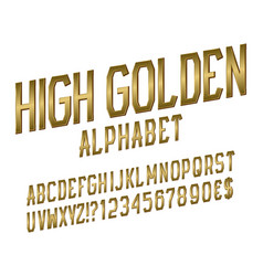 high golden alphabet witn numbers dollar and euro vector image