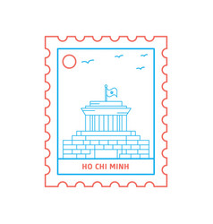 Ho chi minh postage stamp blue and red line style vector