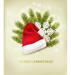 Holiday background with a santa hat and Christmas vector image