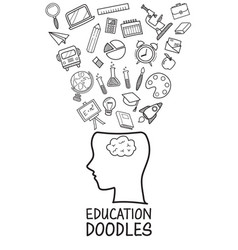 human head with education doodles icons collection vector image