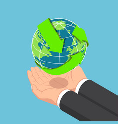 isometric businessman hands holding world vector image