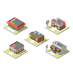 isometric icon set infographic 3d buildings vector image